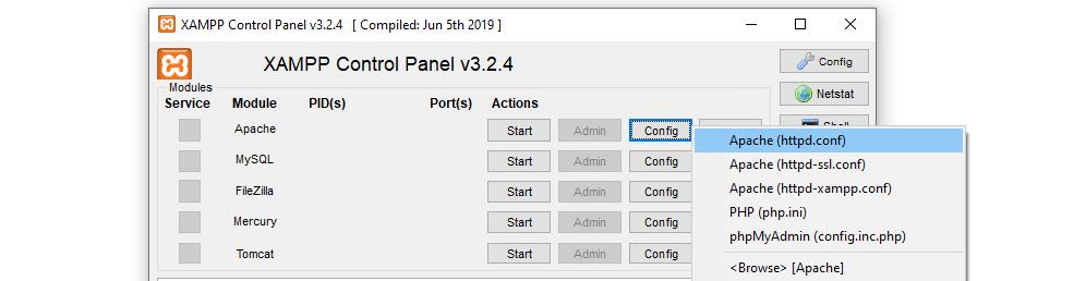 Abra el archivo de configuración de Apache.