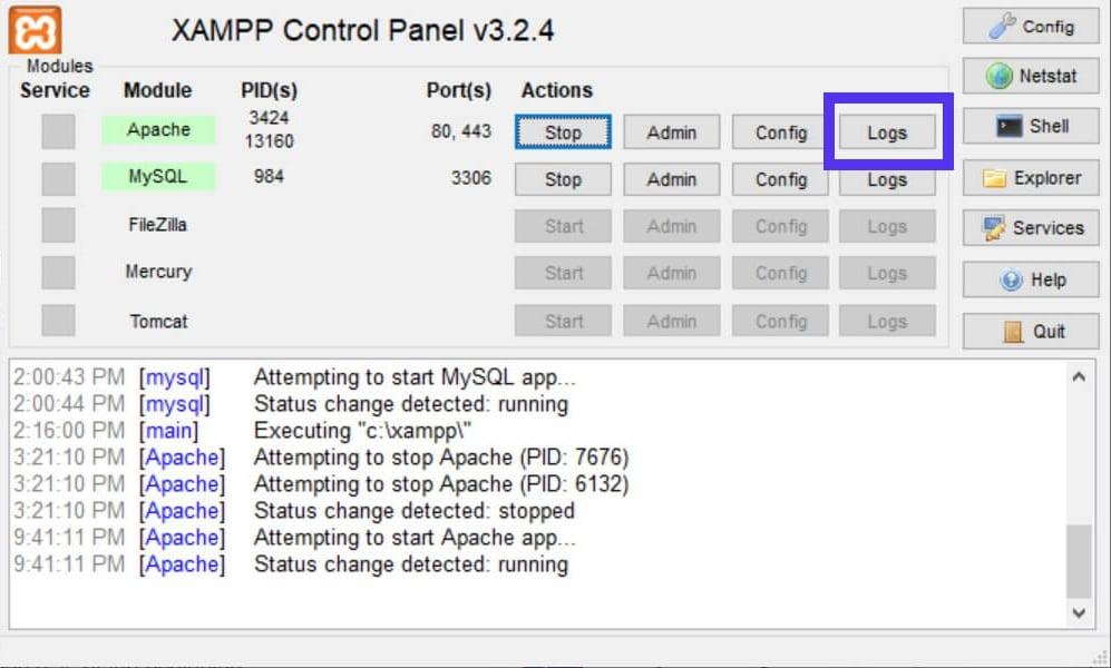 El botón Registro abre el registro de errores de Apache.