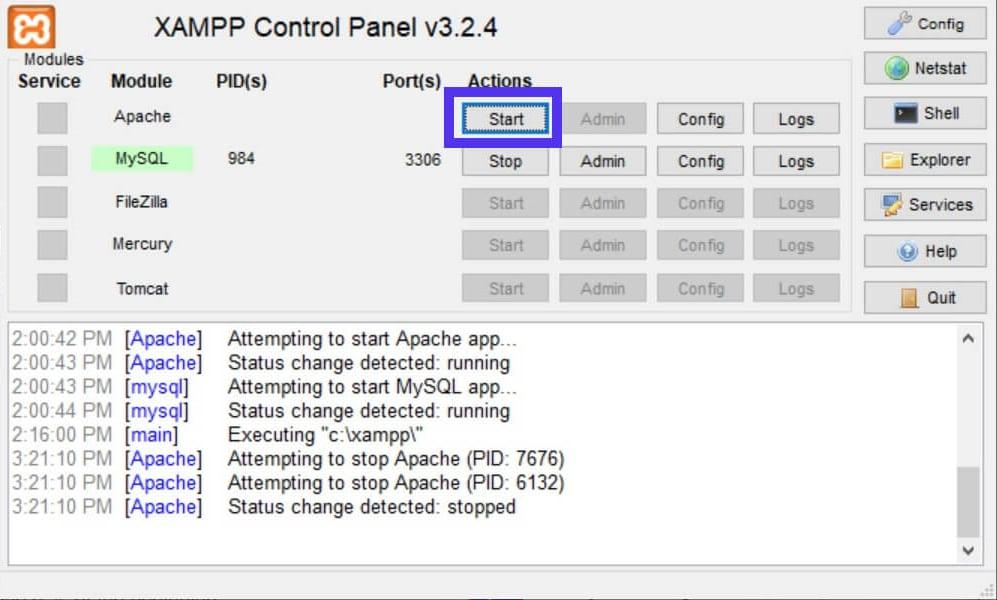 El botón de inicio de XAMPP reactiva Apache.