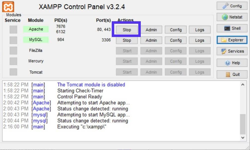 Botón de parada XAMPP para desactivar Apache.