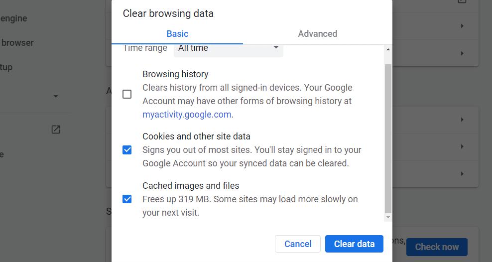 Borre su caché y cookies en Chrome.
