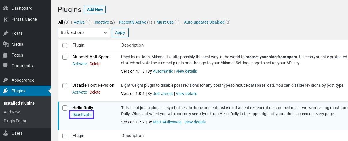 Deshabilite el complemento de WordPress.