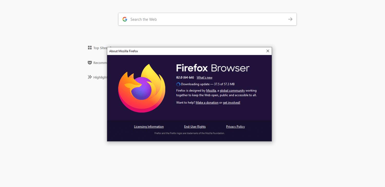 Una ventana del navegador Firefox notifica al usuario que se ha descargado la actualización.