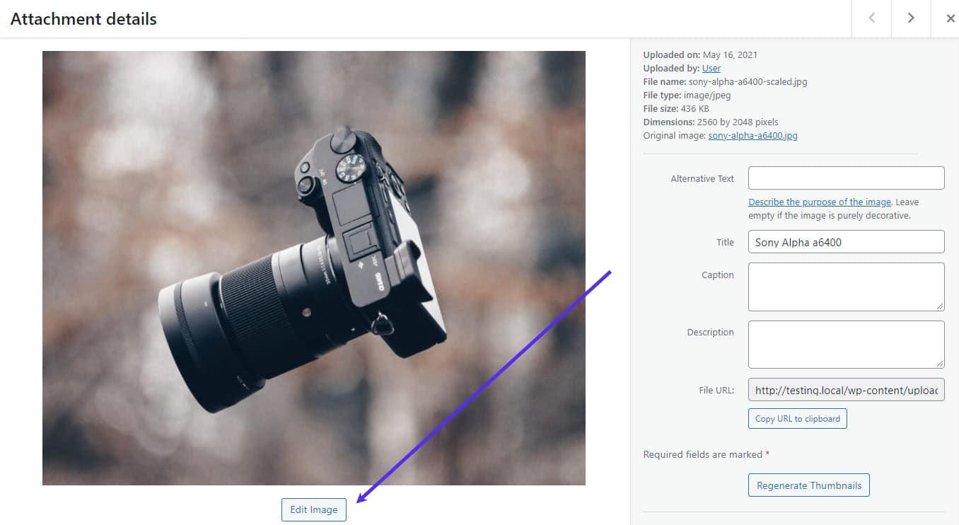 Botón Editar imagen.