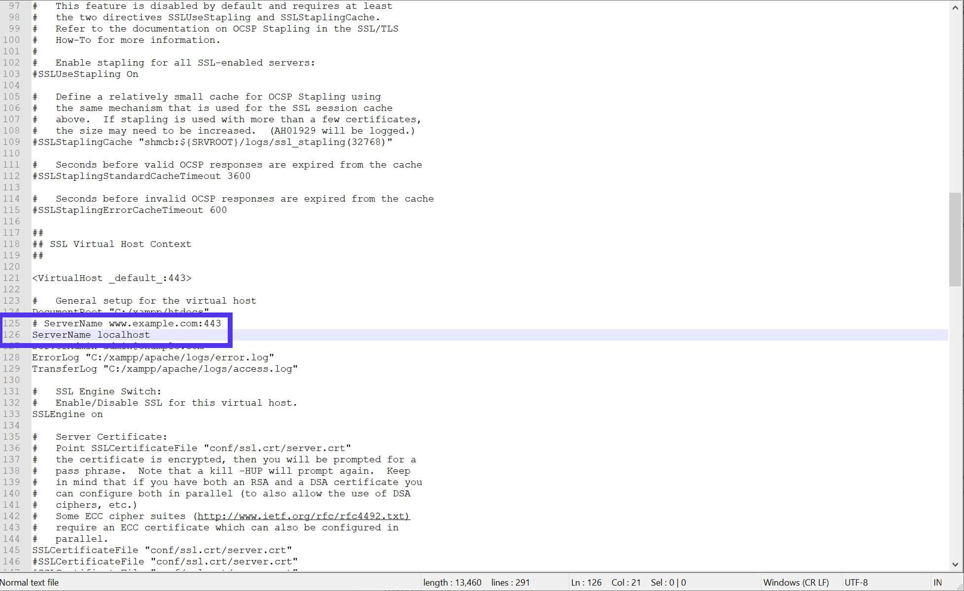 Archivo modificado httpd-ssl.conf.