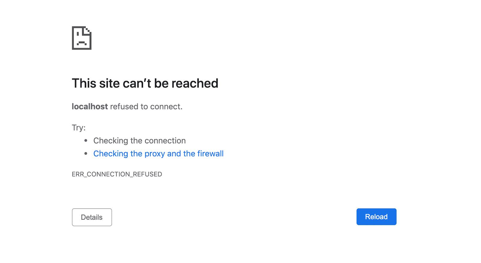 Página ERR_CONNECTION_REFUSED en Chrome.