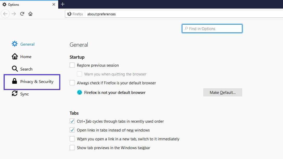 Opciones de menú de privacidad y seguridad en la configuración de Firefox.