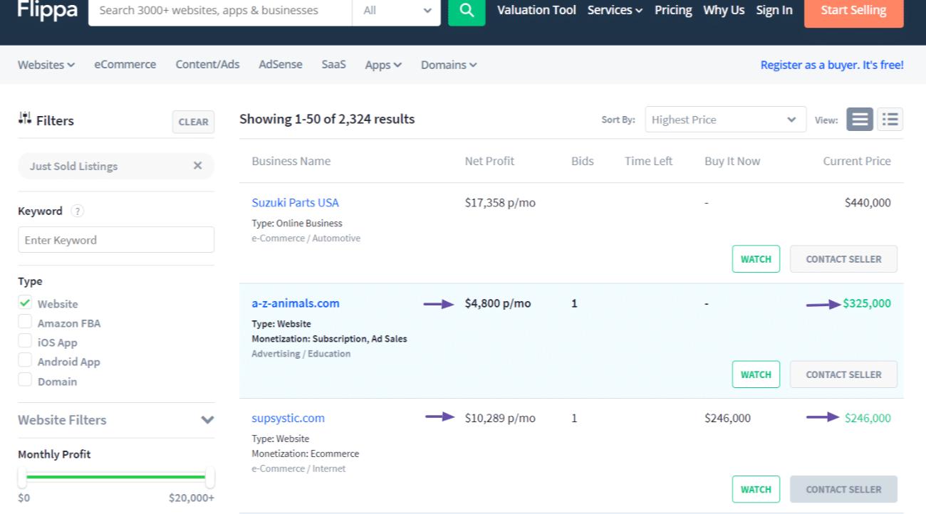 Página de inicio de Flippa y sitios web vendidos recientemente.