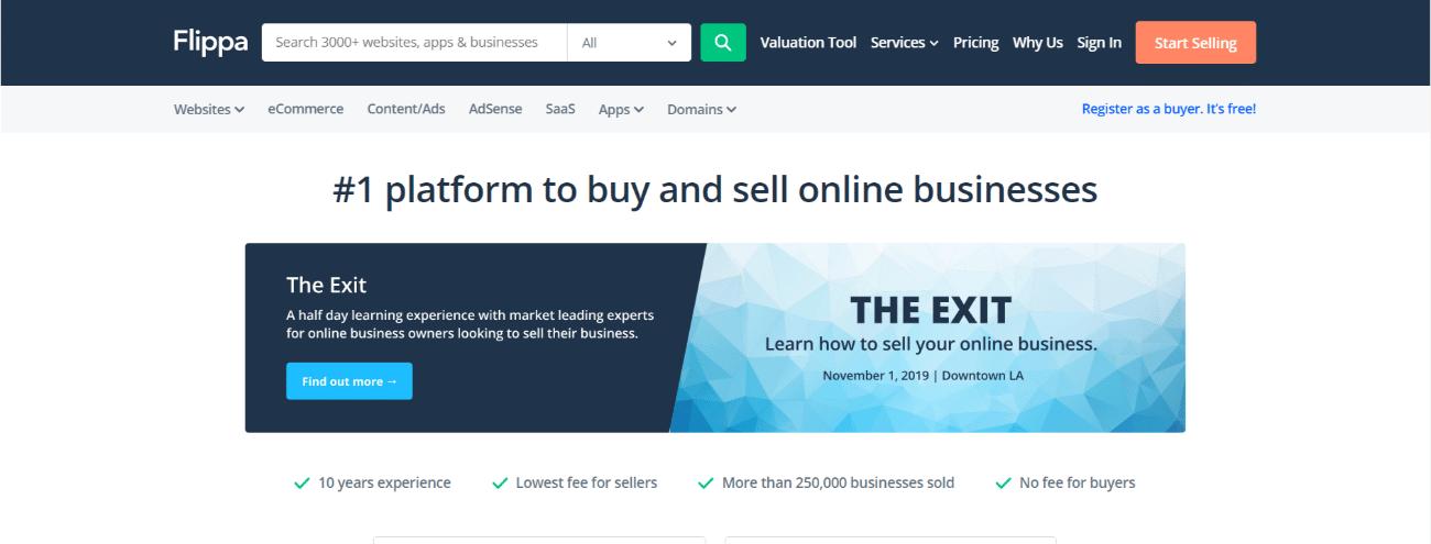 Mercado de sitios web Flippa.