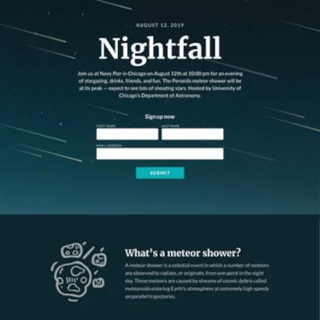 Nightfall es una de las mejores páginas de destino gratuitas de la industria inmobiliaria.