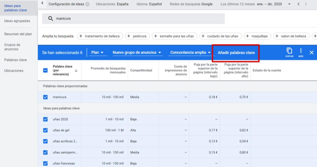El Planificador de palabras clave de Google es libre de elegir el tipo de concordancia.