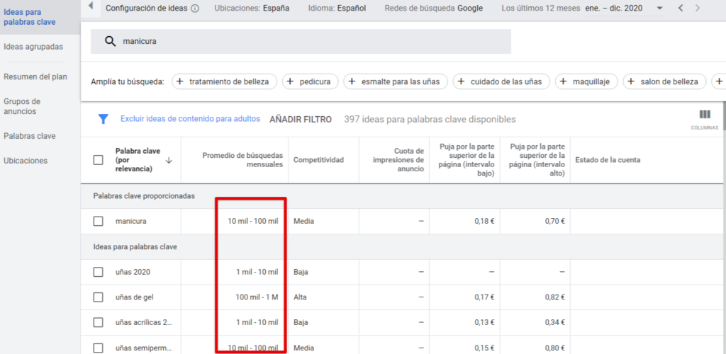 Impresión de clasificación gratuita del Planificador de palabras clave de Google