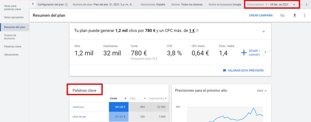 Resumen gratuito de palabras clave de Google Keyword Planner para el plan