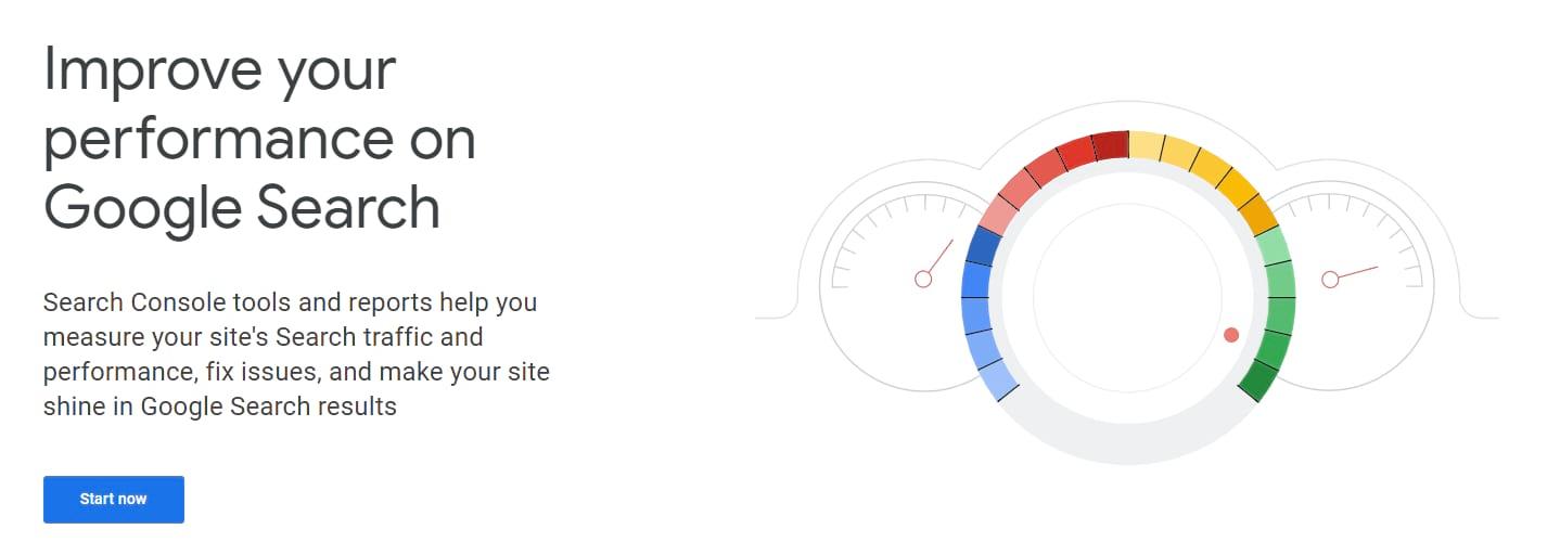 Página de inicio de Google Search Console.