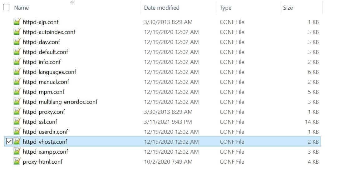 El archivo httpd-vhosts.conf es la clave para solucionar los errores de index.php.