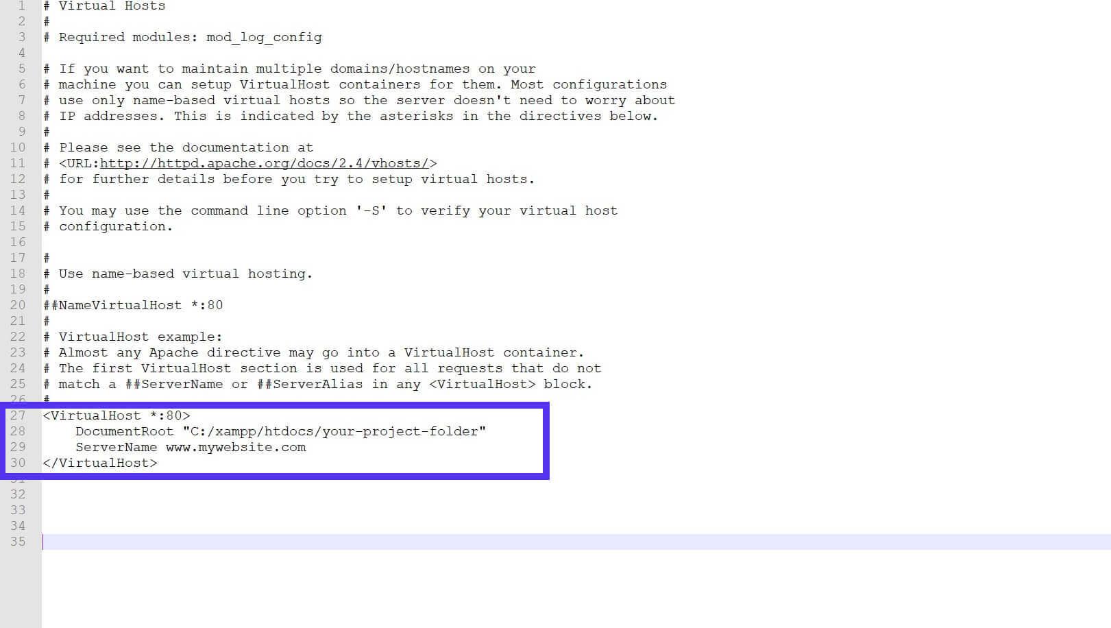 Se actualizó la línea DocumentRoot en httpd-vhosts.conf.