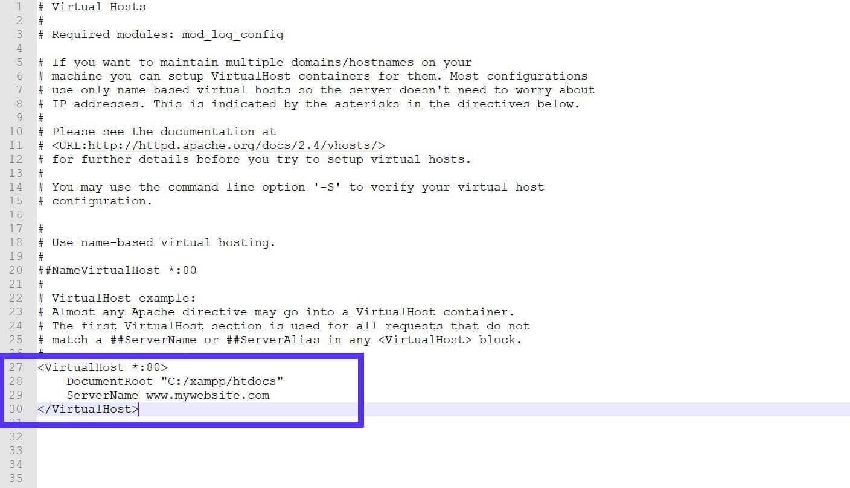 Línea DocumentRoot en el archivo httpd-vhosts.conf.