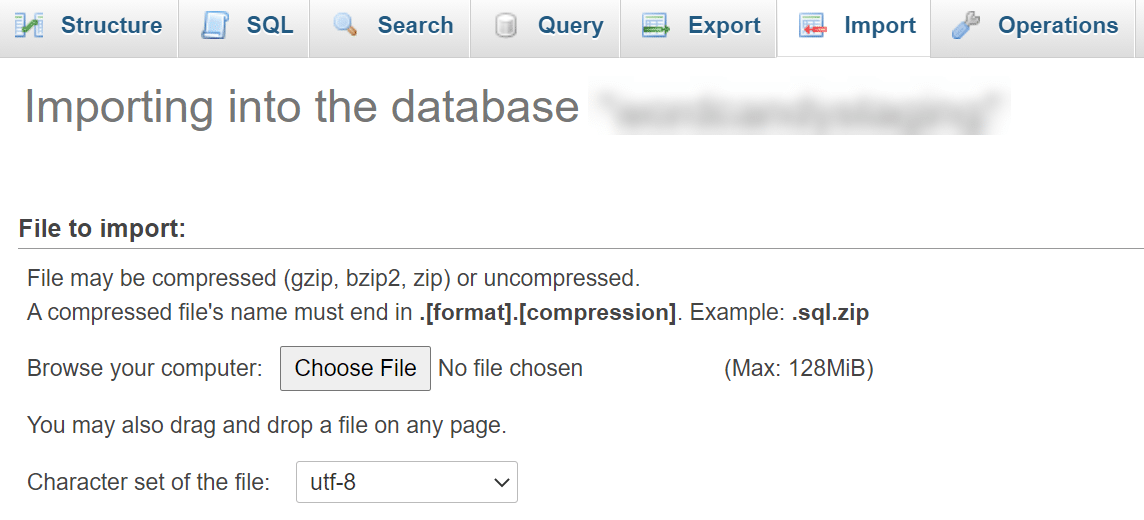 Importe archivos de base de datos a través de phpMyAdmin.