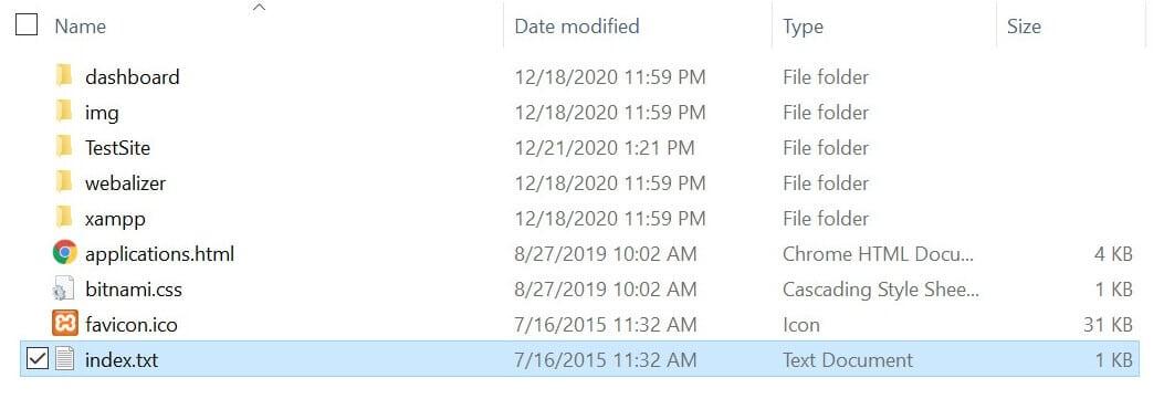 Cambie el nombre del archivo index.txt en el Explorador de Windows.