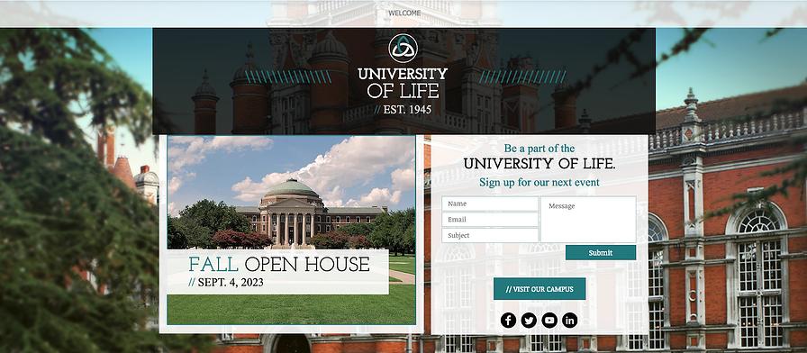 La universidad es una plantilla de página de destino con el diseño correcto para ayudarlo a atraer estudiantes.