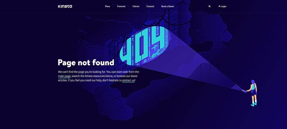Página de error de Kinsta 404.