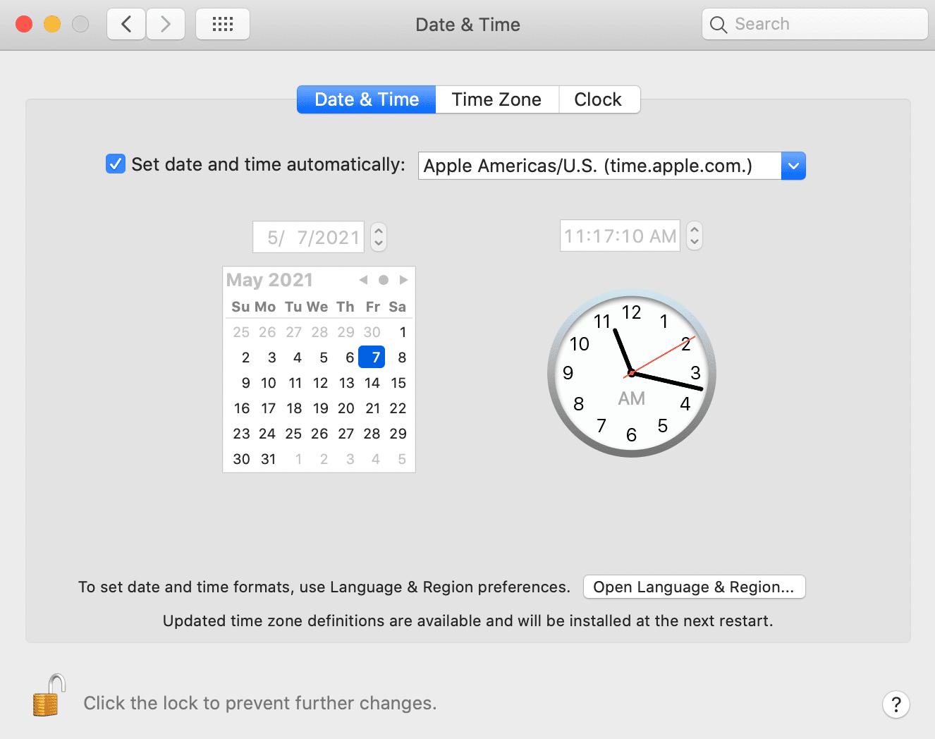 Configuración de fecha y hora de MacOS.