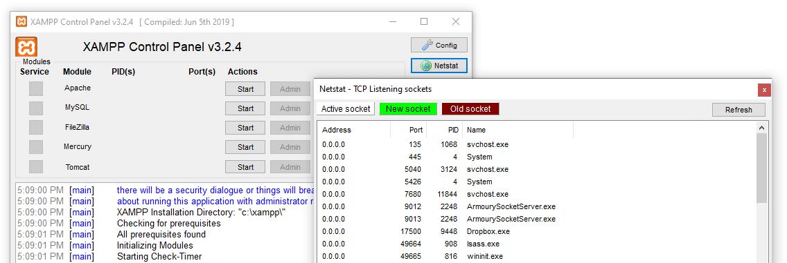 Verifique el netstat para verificar los puertos activos.