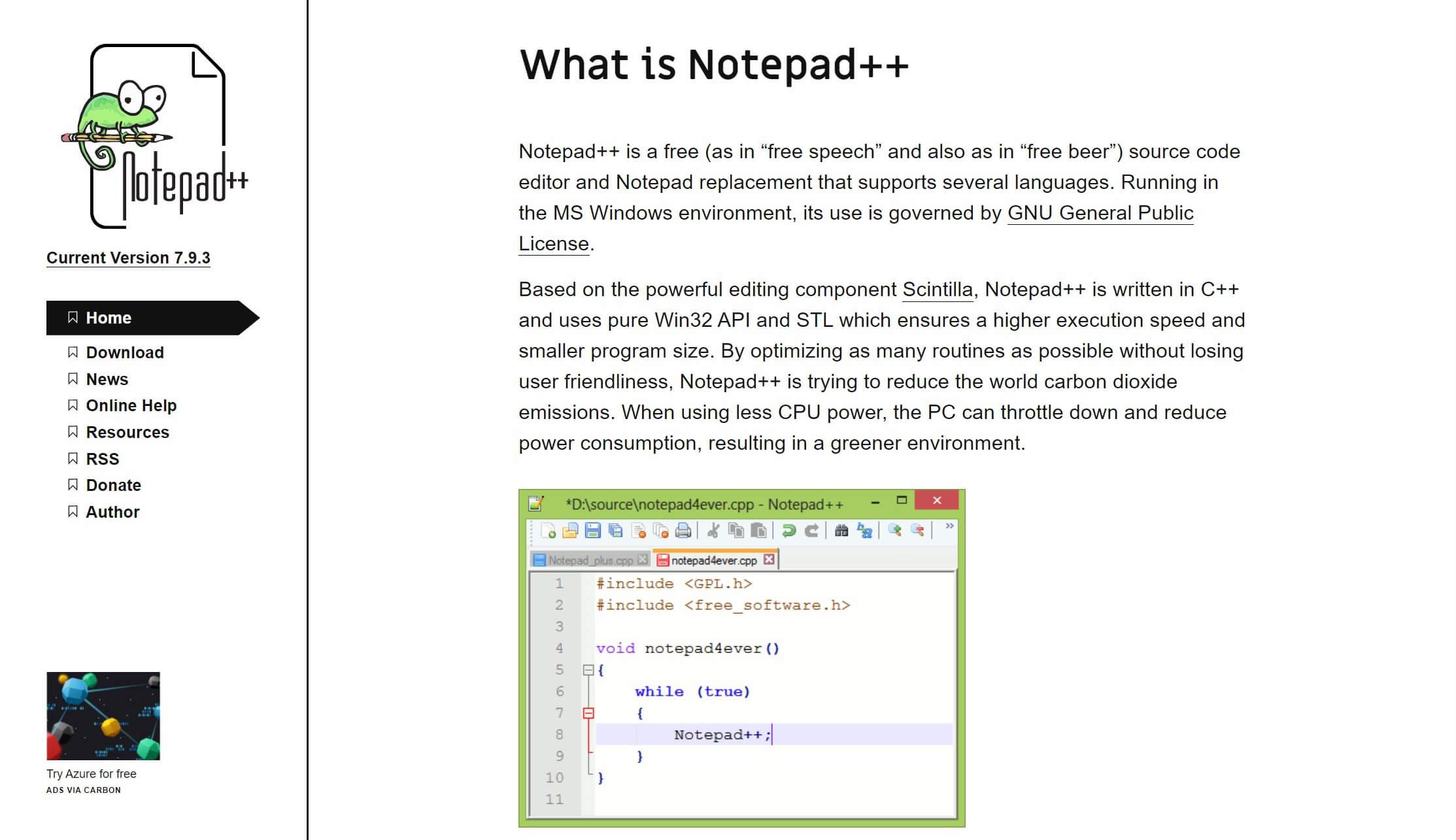 Editor de texto Notepad ++ para Windows.