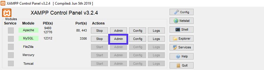 Puede abrir phpMyAdmin desde el panel de control de XAMPP.
