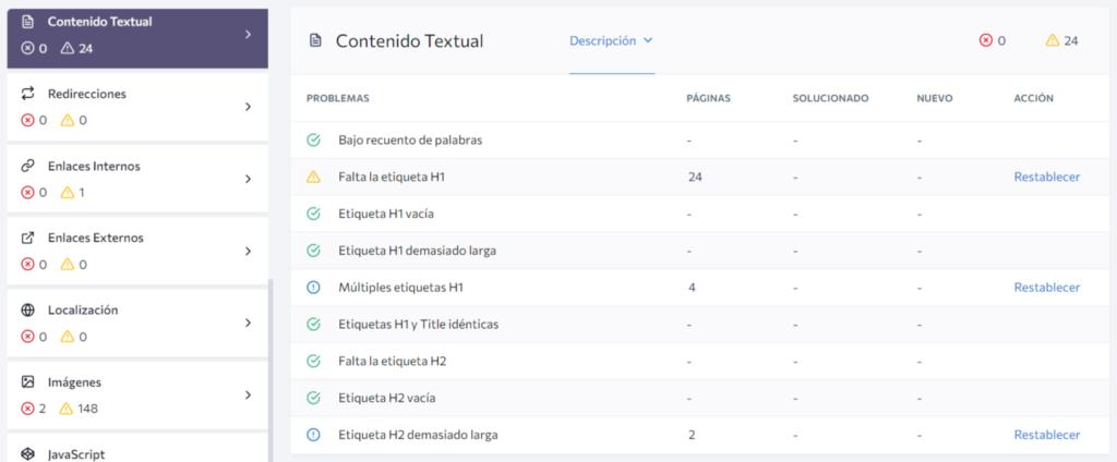 SEO optimiza el contenido de texto en el sitio web