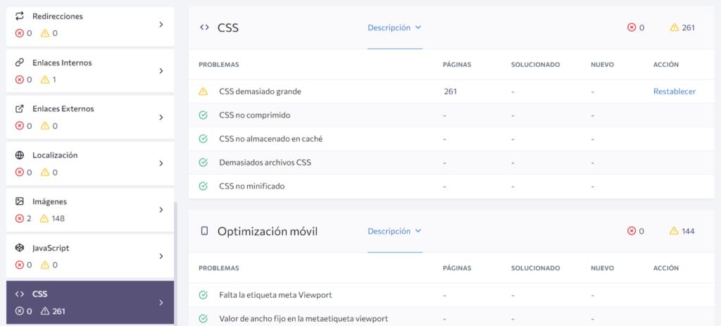 Páginas SEO optimizadas en la página CSS