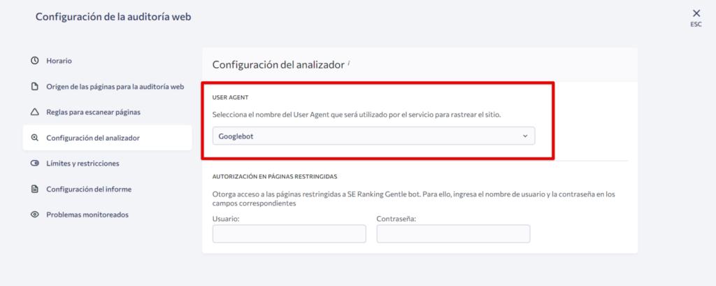 Agente de usuario para configurar la optimización SEO web
