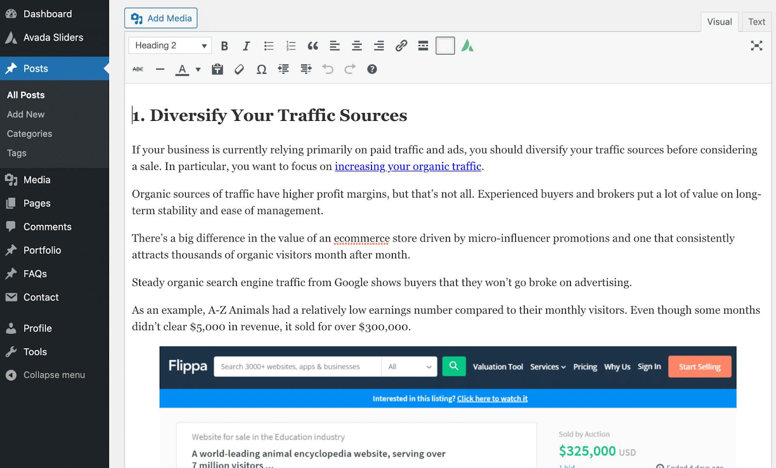La aparición de texto cuando Wordable se publica en WordPress.
