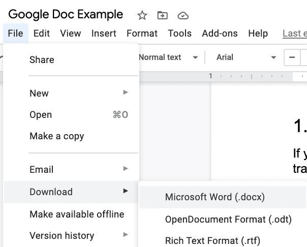 Descarga Google Doc como un documento de Word.