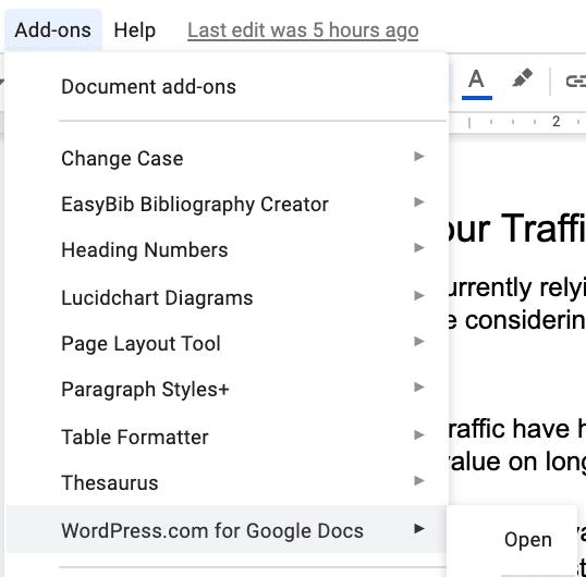 Complementos de WordPress.com Google Docs.