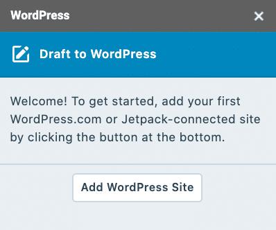 Agregue un sitio de WordPress al complemento de Google Docs en WordPress.