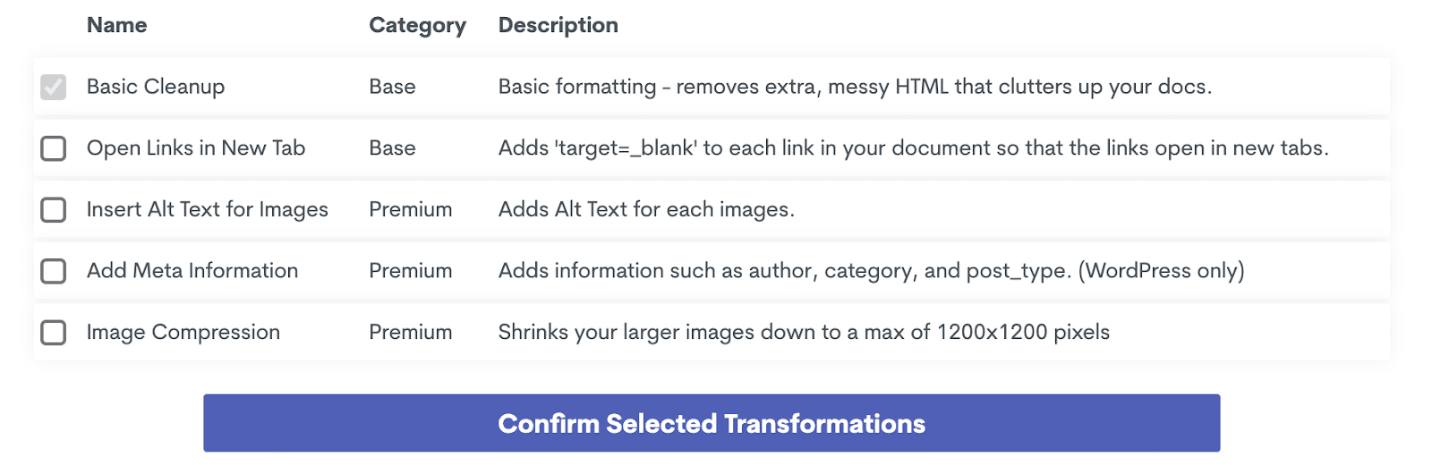 Conversión de un clic a Wordable.