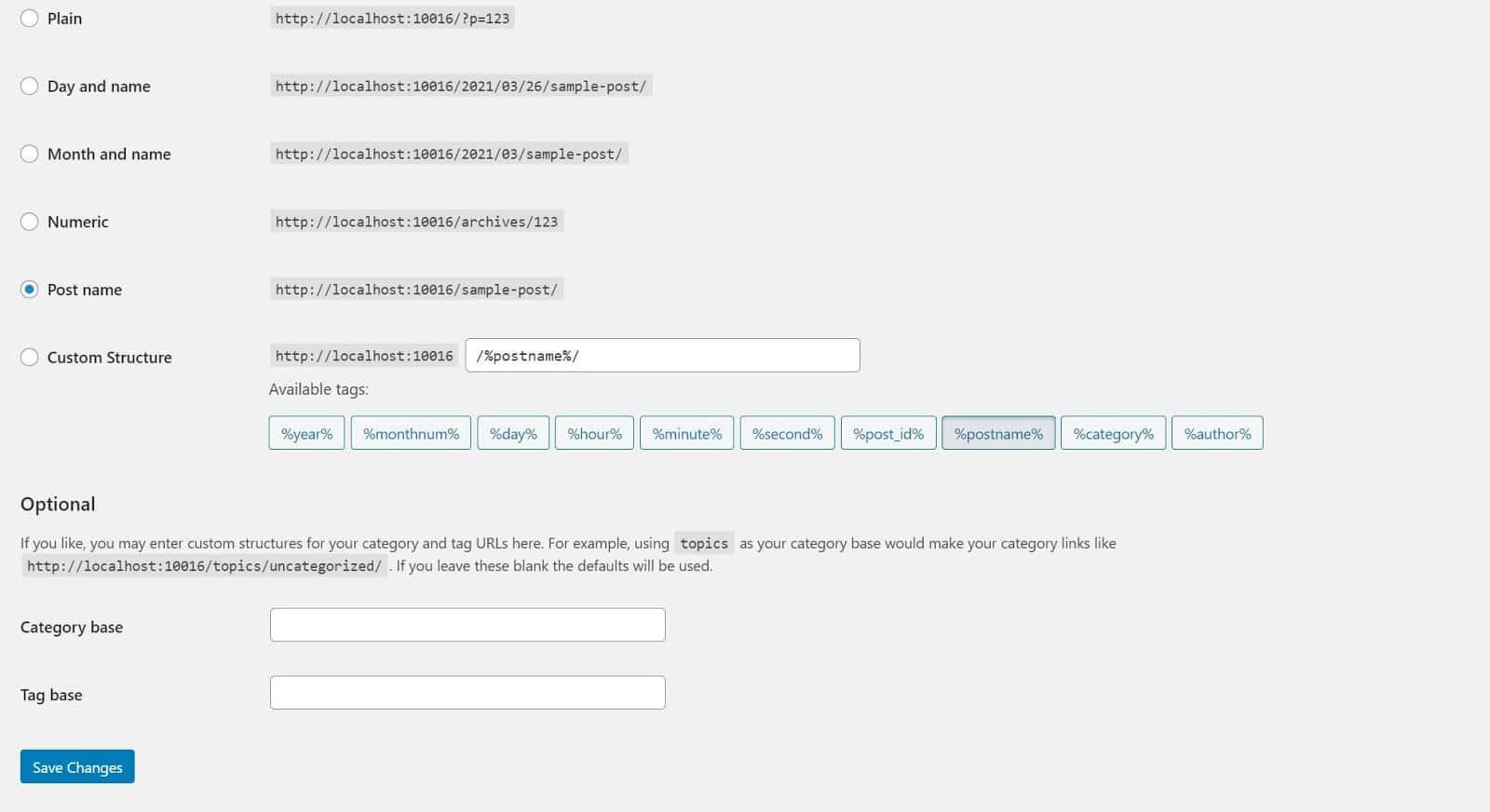 Guarde los cambios permanentes en los enlaces de WordPress.