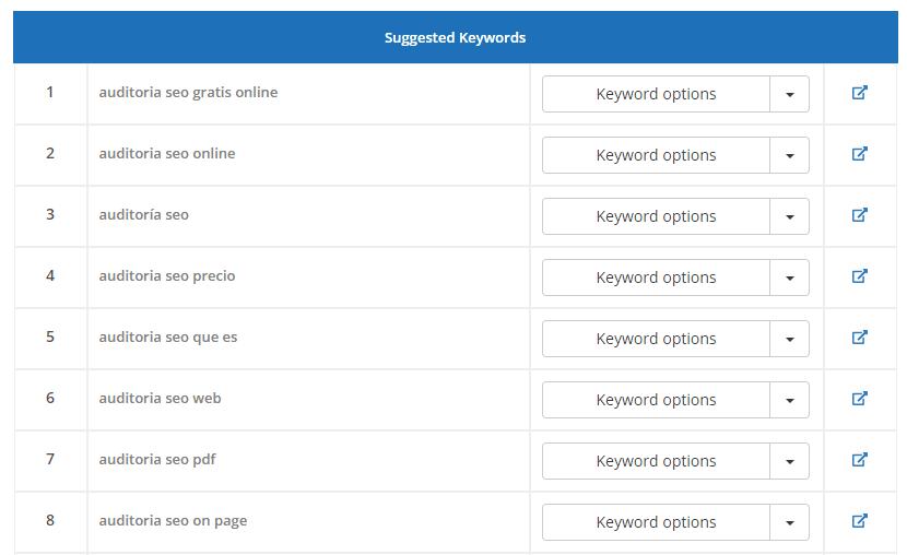 redaccion SEO sugerencia de palabras clave
