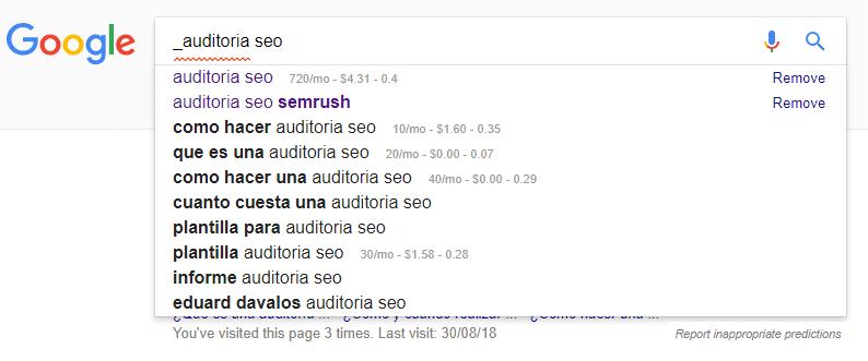 Escribir SEO Google sugiere caracteres especiales