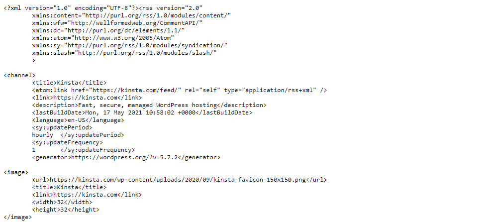 Ejemplos de fuentes RSS.