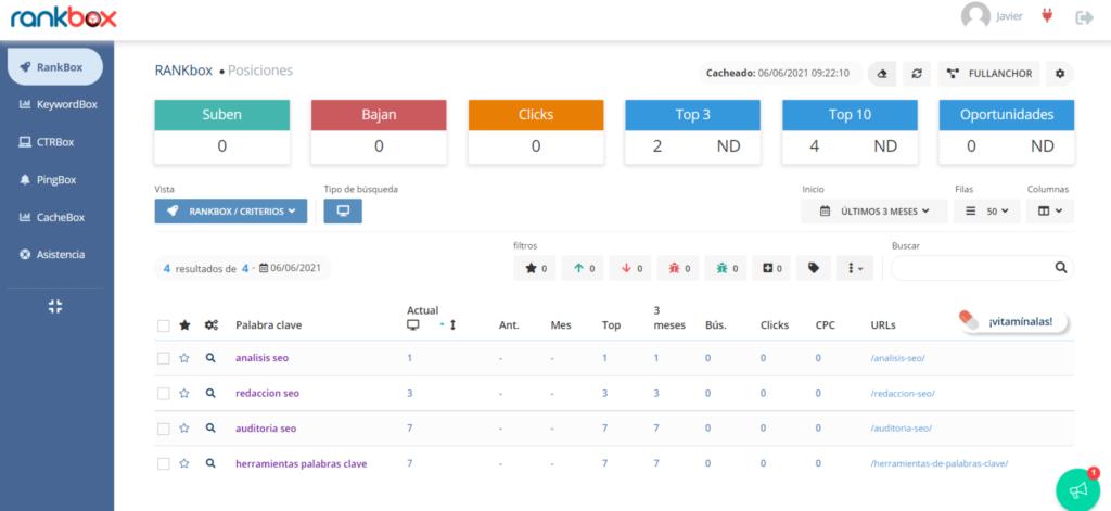 Utilice Rankbox para comprender dónde se posicionan las palabras clave en Google