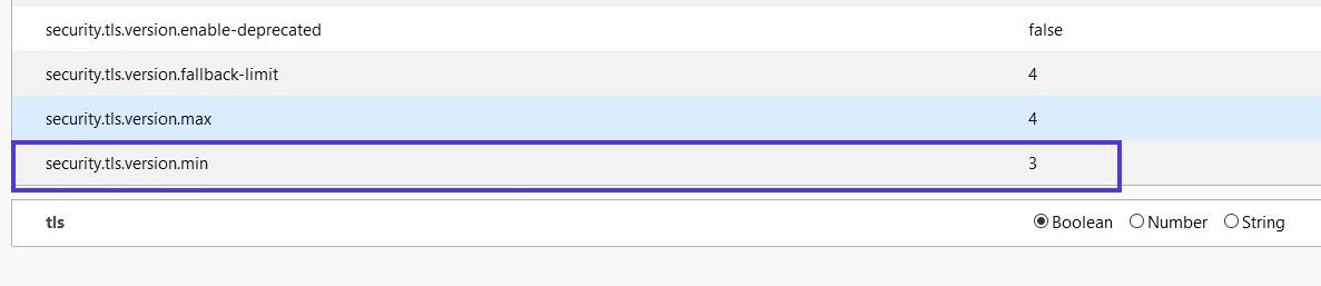 Busque la configuración security.tls.version.min en Firefox.