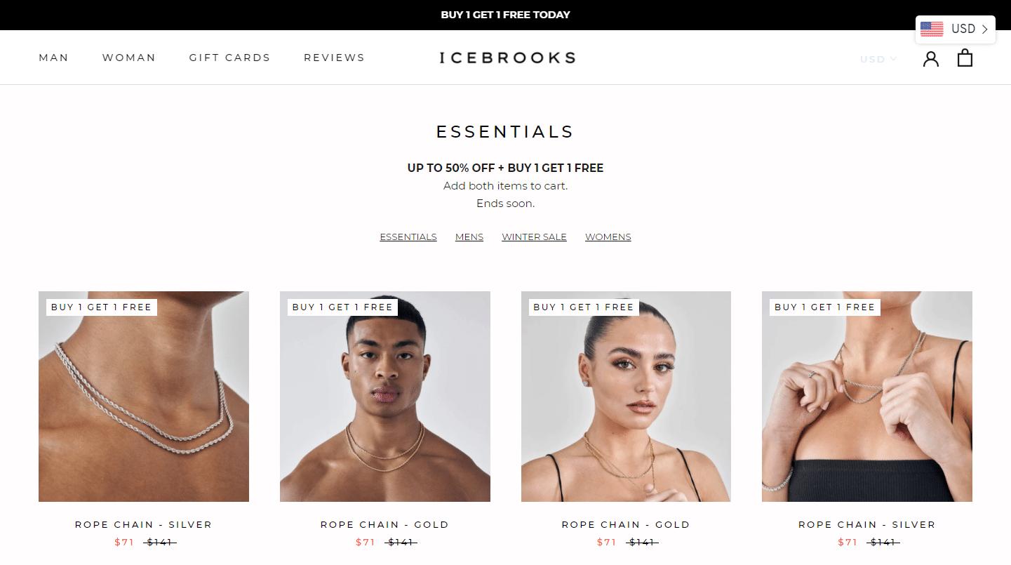 Página del producto Icebrook eCommerce.