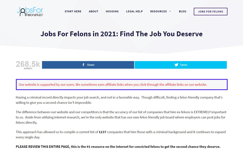 Anuncio de enlace de socio de Jobs for Felons Hub:
