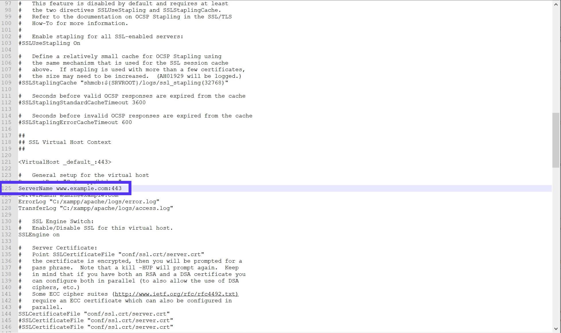 Línea 125 del archivo httpd-ssl.conf.