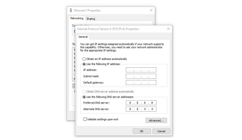 Configure una IP estática en Windows.
