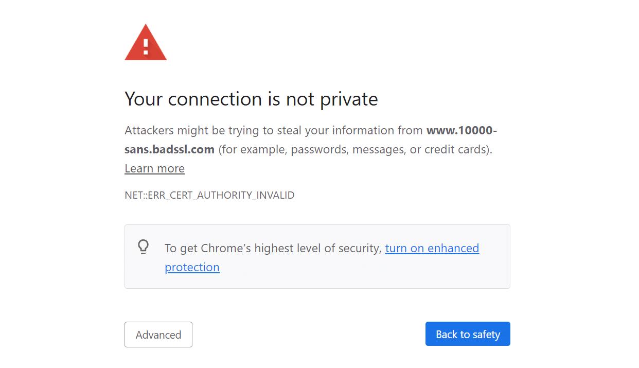Error de conexión SSL en Chrome.