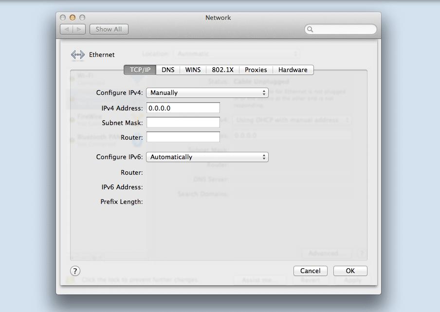 Configure la dirección IP estática en macOS.