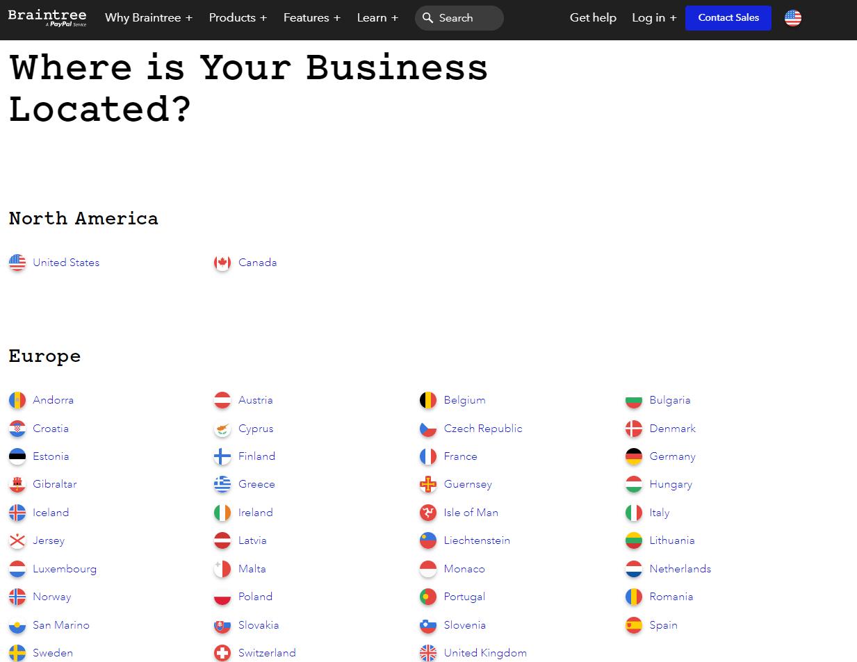 Braintree: lista de países / regiones disponibles.